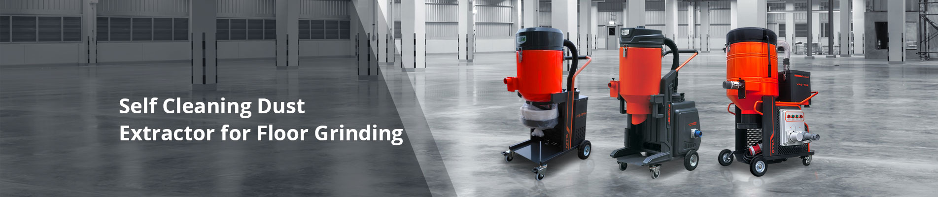self cleaning dust extractor for floor grinding